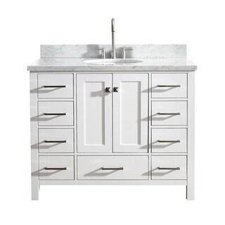 "Ariel Cambridge 43"" Single Sink Vanity Set In White"