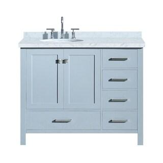 """Ariel Cambridge 43"""" Left Offset Single Oval Sink Vanity Set In Grey"""
