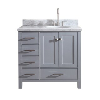 "Ariel Cambridge 37"" Single Sink Vanity Set W/ Right Offset Sink In Grey"