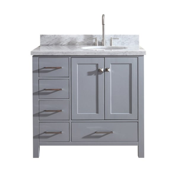 Shop Ariel Cambridge 37 Single Sink Vanity Set W Right Offset Sink In Grey Free Shipping