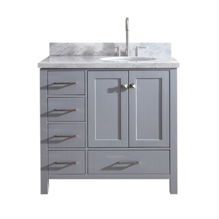 "Ariel Cambridge 37"" Single Sink Vanity Set W/ Right Offset Sink In Grey"