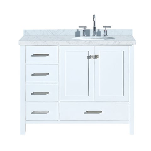 "Ariel Cambridge 43"" Right Offset Single Oval Sink Vanity Set In White"