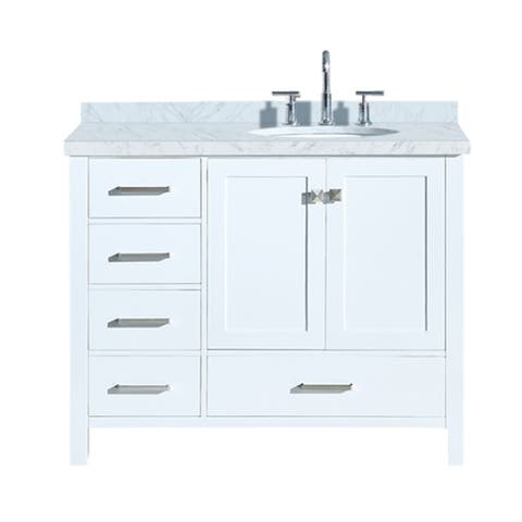 """Ariel Cambridge 43"""" Right Offset Single Oval Sink Vanity Set In White"""