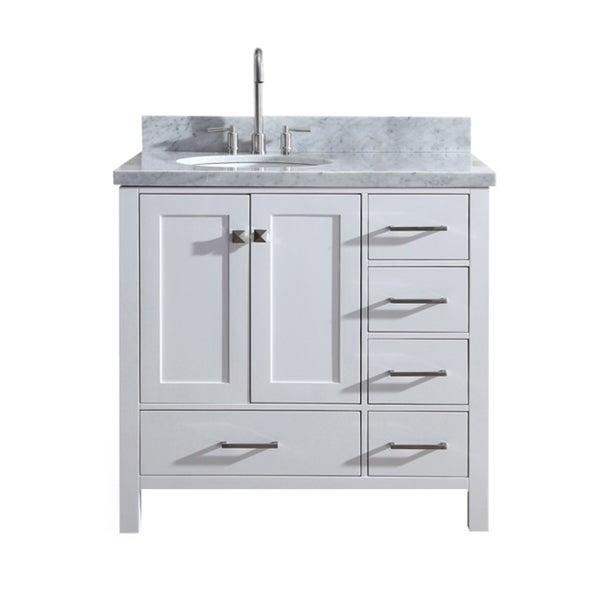 "Shop Ariel Cambridge 37"" Single Sink Vanity Set W/ Left ..."