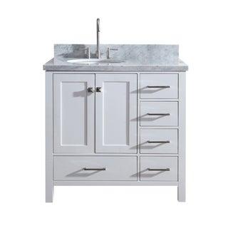 "Ariel Cambridge 37"" Single Sink Vanity Set W/ Left Offset Sink In White"