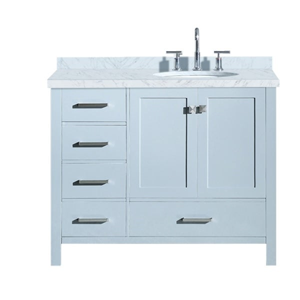 "Ariel Cambridge 43"" Right Offset Single Oval Sink Vanity Set In Grey"