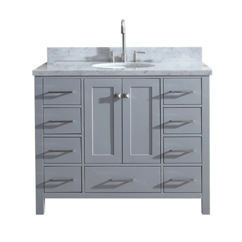"Ariel Cambridge 43"" Single Sink Vanity Set In Grey"