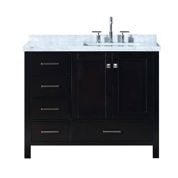 "Ariel Cambridge 43"" Right Offset Single Rectangle Sink Vanity Set In Espresso"