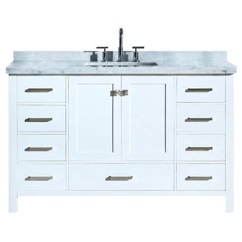"Ariel Cambridge 55"" Single Rectangle Sink Vanity Set In White"