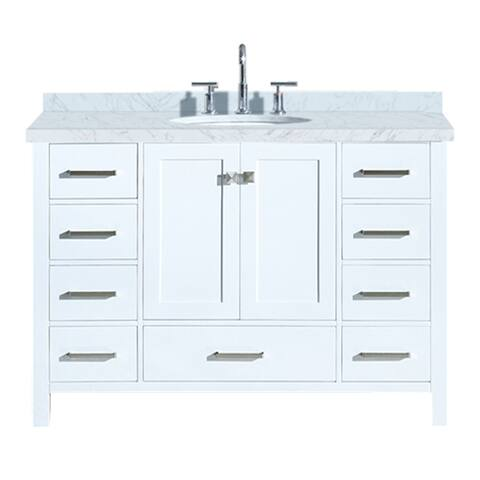 "Ariel Cambridge 49"" Single Oval Sink Vanity Set In White"