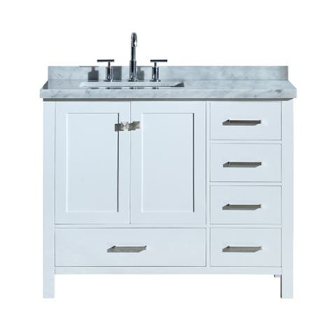 "Ariel Cambridge 43"" Left Offset Single Rectangle Sink Vanity Set In White"