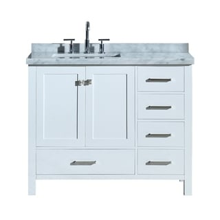 "Ariel Cambridge 43"" Left Offset Single Rectangle Sink Vanity Set In White"