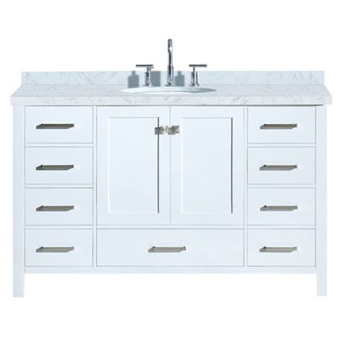 "Ariel Cambridge 55"" Single Oval Sink Vanity Set In White"