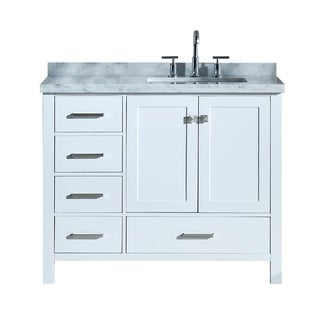 "Ariel Cambridge 43"" Right Offset Single Rectangle Sink Vanity Set In White"