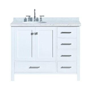 "Ariel Cambridge 43"" Left Offset Single Oval Sink Vanity Set In White"
