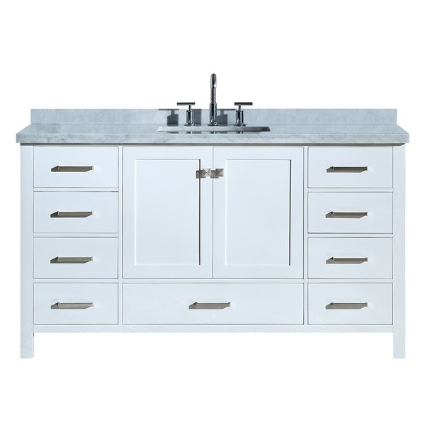 "Ariel Cambridge 61"" Single Rectangle Sink Vanity Set In White"