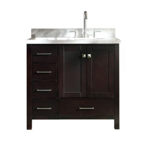 "Ariel Cambridge 37"" Single Sink Vanity Set W/ Right Offset Sink in Espresso"