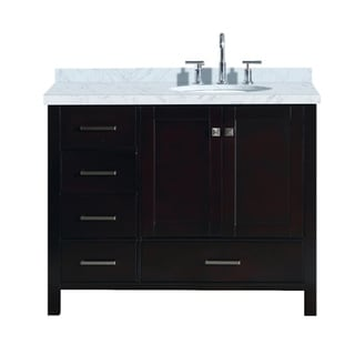 "Ariel Cambridge 43"" Right Offset Single Oval Sink Vanity Set In Espresso"