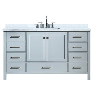 "Ariel Cambridge 61"" Single Rectangle Sink Vanity Set In Grey"