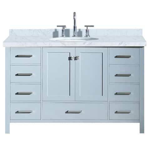 "Ariel Cambridge 55"" Single Oval Sink Vanity Set In Grey"