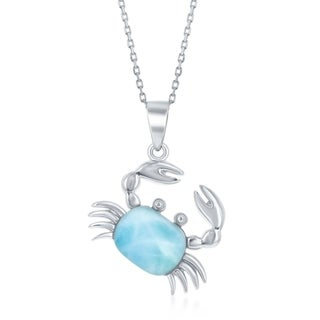 La preciosa Inspired Sterling Silver Natural Larimar Stone Crab 16+2'' Necklace - Blue