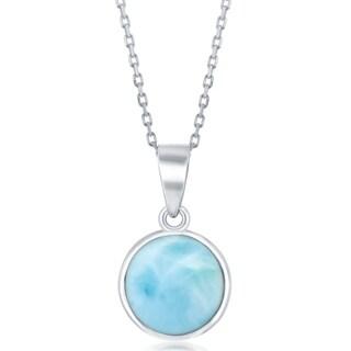 La Preciosa Sterling Silver Natural Larimar Round Stone Bezel Set 16+2'' Necklace - Blue