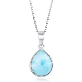 La Preciosa Sterling Silver Natural Larimar Teardrop Stone Bezel Set 16+2'' Necklace - Blue