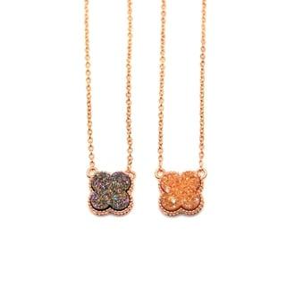 "Gemsbaby 24K Rose Gold Vermeil Four Leaf Clover Shamrock Druzy Quartz Pendant w/ 18"" Chain"