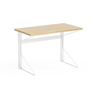 Jamesdar Carnegie Natural Wood Finish/White Steel Desk