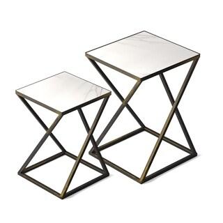Jamesdar Katrine Arden Side Table Set In Black Gold Finish