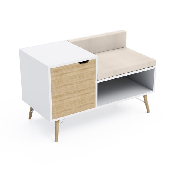 Jamesdar Blythe Sectional Bench in White/Natural Wood Finish  sc 1 st  Overstock.com : wood sectional - Sectionals, Sofas & Couches