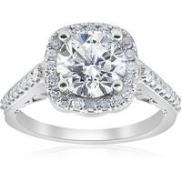 Bliss 14k White Gold 3 ct TDW Cushion Halo Diamond Clarity Enhanced Engagement Infinity Ring