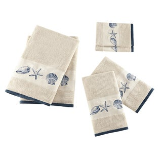 Madison Park Nantucket Blue Embroidered Cotton Jacquard 6-piece Towel Set