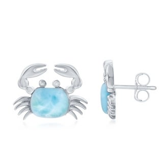 La Preciosa Sterling Silver Natural Larimar Crab Stud Earrings - Blue