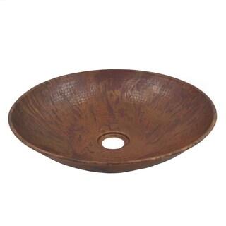 Unikwities 13.75 X 3.25 inch Round Vessel Fired Copper Sink
