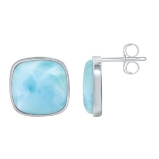 La Preciosa Sterling Silver High Polish Natural Laraimar Square Stud Earrings - Blue