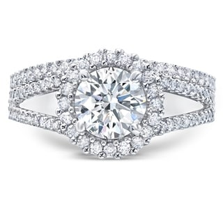 LeZari & Co. 1.50ct TDW with a 1.00ct Round Center Diamond, classic halo split shank prong set Bridal set ring.