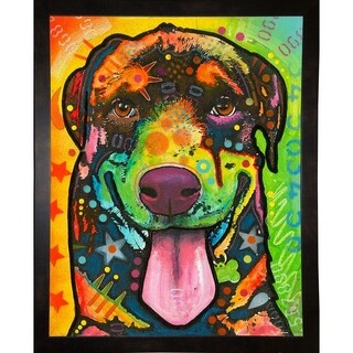 "Rottie Pup Framed Print 39.25""x31"" by Dean Russo- Exclusive (Option: Clear)"