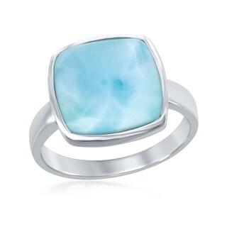 La Preciosa Sterling Silver Natural Larimar Square Stone Ring - Blue