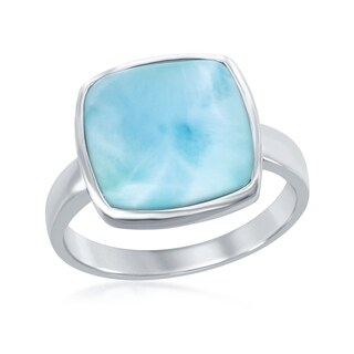 La Preciosa Sterling Silver Natural Larimar Square Stone Ring - Blue