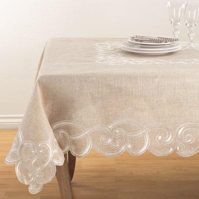 Embroidered Scallop Design Natural Linen Blend Tablecloth
