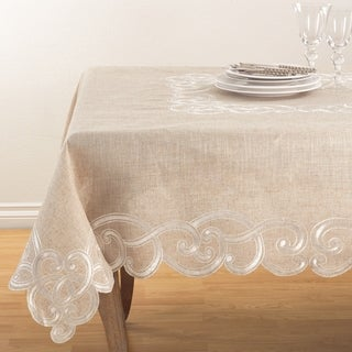 Embroidered Scallop Design Natural Linen Blend Tablecloth