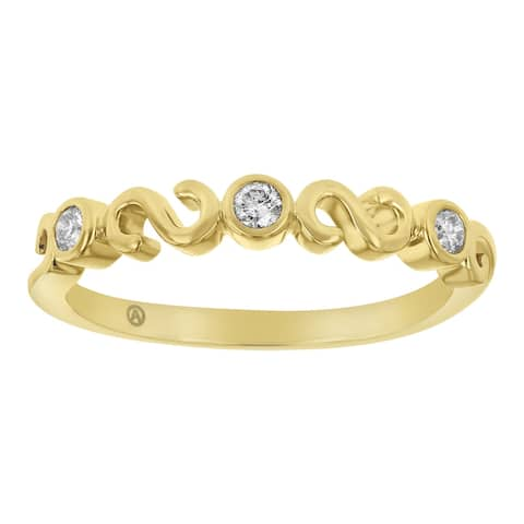 14K Yellow Gold 1/8 carat Diamonds Semi Eternity Band Ring by Beverly Hills Charm - White H-I - White H-I