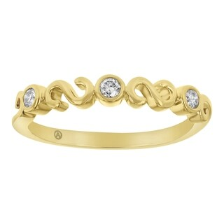 14K Yellow Gold 1/8 carat Diamonds Semi Eternity Band Ring - White H-I