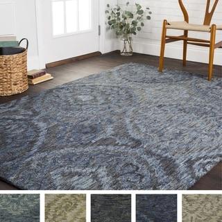 Hand-hooked Damask Ikat Wool Rug