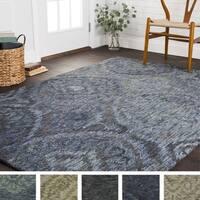 Hand-hooked Damask Ikat Wool Rug - 3'6 x 5'6