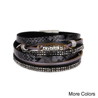 Handmade Saachi Leather Metal Beads Bracelet (China)