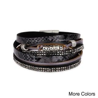 Handmade Saachi Leather Metal Beads Bracelet (China)