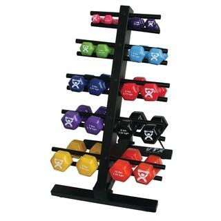 CanDo® vinyl coated dumbbell - 20-piece set with Floor Rack - 2 each 1, 2, 3, 4, 5, 6, 7, 8, 9, 10