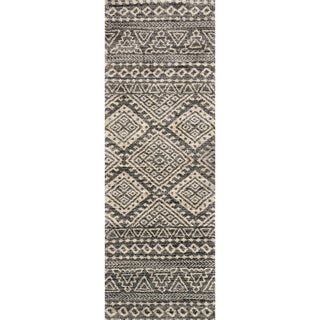 "Alexander Home Brently Graphite/Ivory Abstract Runner Rug - 2'5"" x 7'7"" Runner"